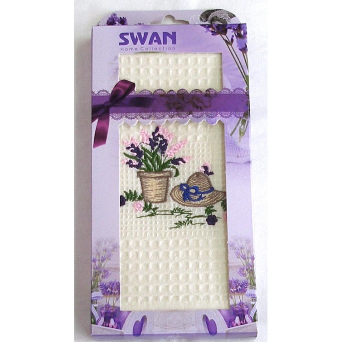 Bavlnená utierka Darčekové balenie, Swan Klobúk s kvety, 50 x 70 cm