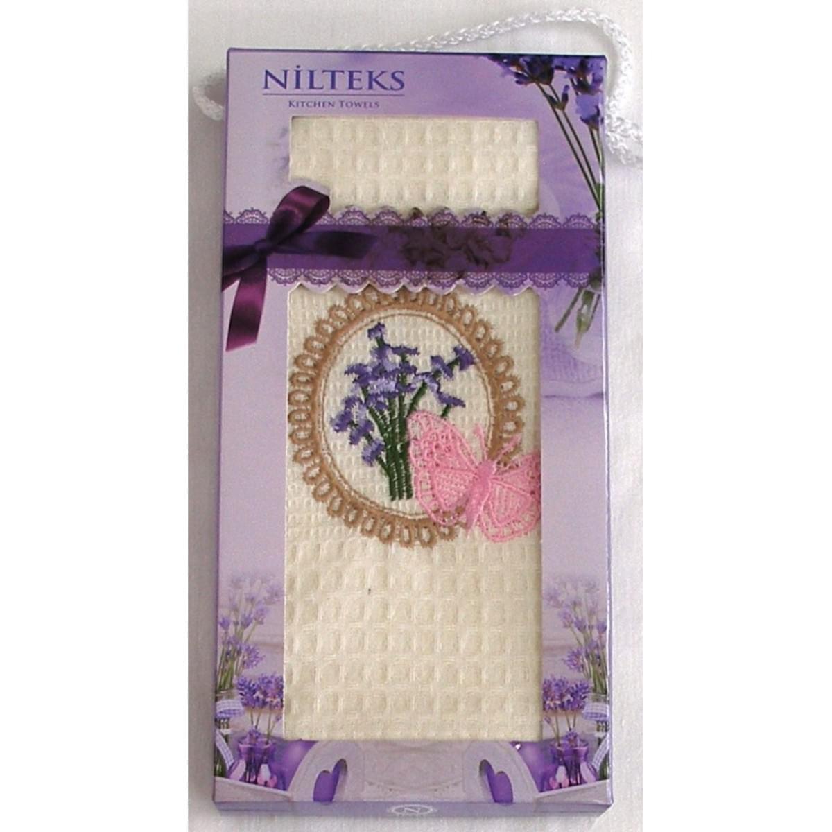 Bavlnená utierka Darčekové balenie, levanduľa s motýlikom, 50 x 70 cm
