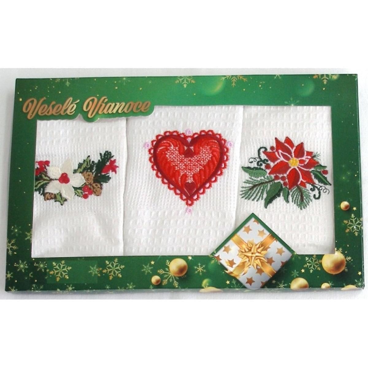 Darčekové balenie 3 ks bavlnených utierok, Vianoční romance, 50 x 70 cm