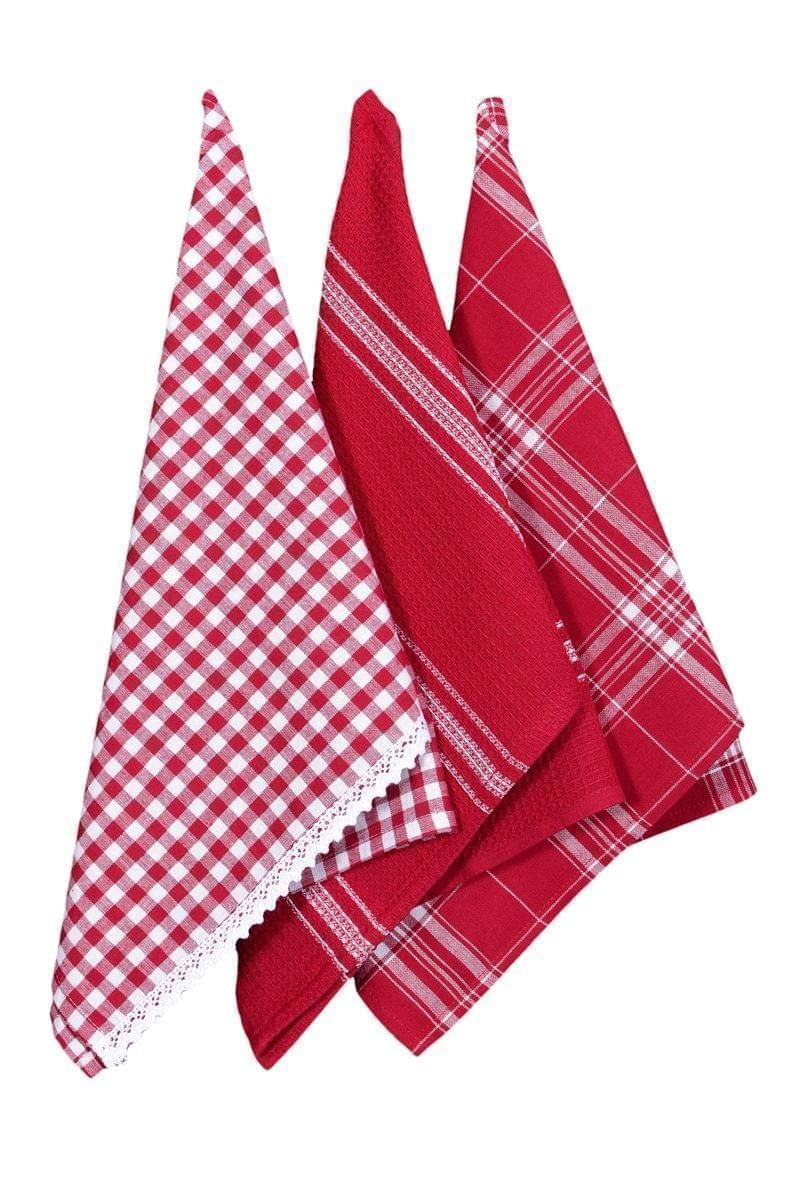 Forbyt, Utierka bavlnená, Káro s čipkou komplet 3 ks, červená