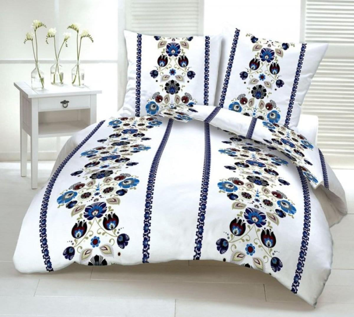 Forbyt, Obliečky bavlnené, folklór modrý, 140 x 200/70 x 90 cm 140 x 200 cm + 70 x 90 cm