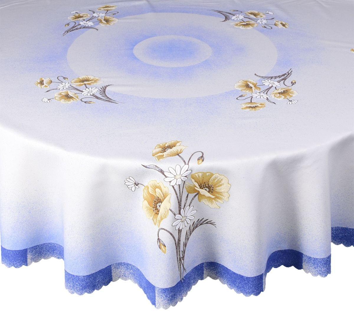 Forbyt, Obrus celoročná, Máky, modrosmetanový, pr. 140 cm