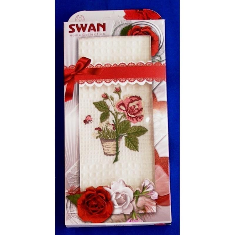 Bavlnená utierka Darčekové balenie, Swan Ruže, 50 x 70 cm