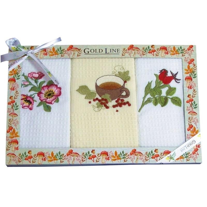 Forbyt, Bavlnené utierky Darčekové balenie, šípkový čaj, sada 3 ks, 50 x 70 cm