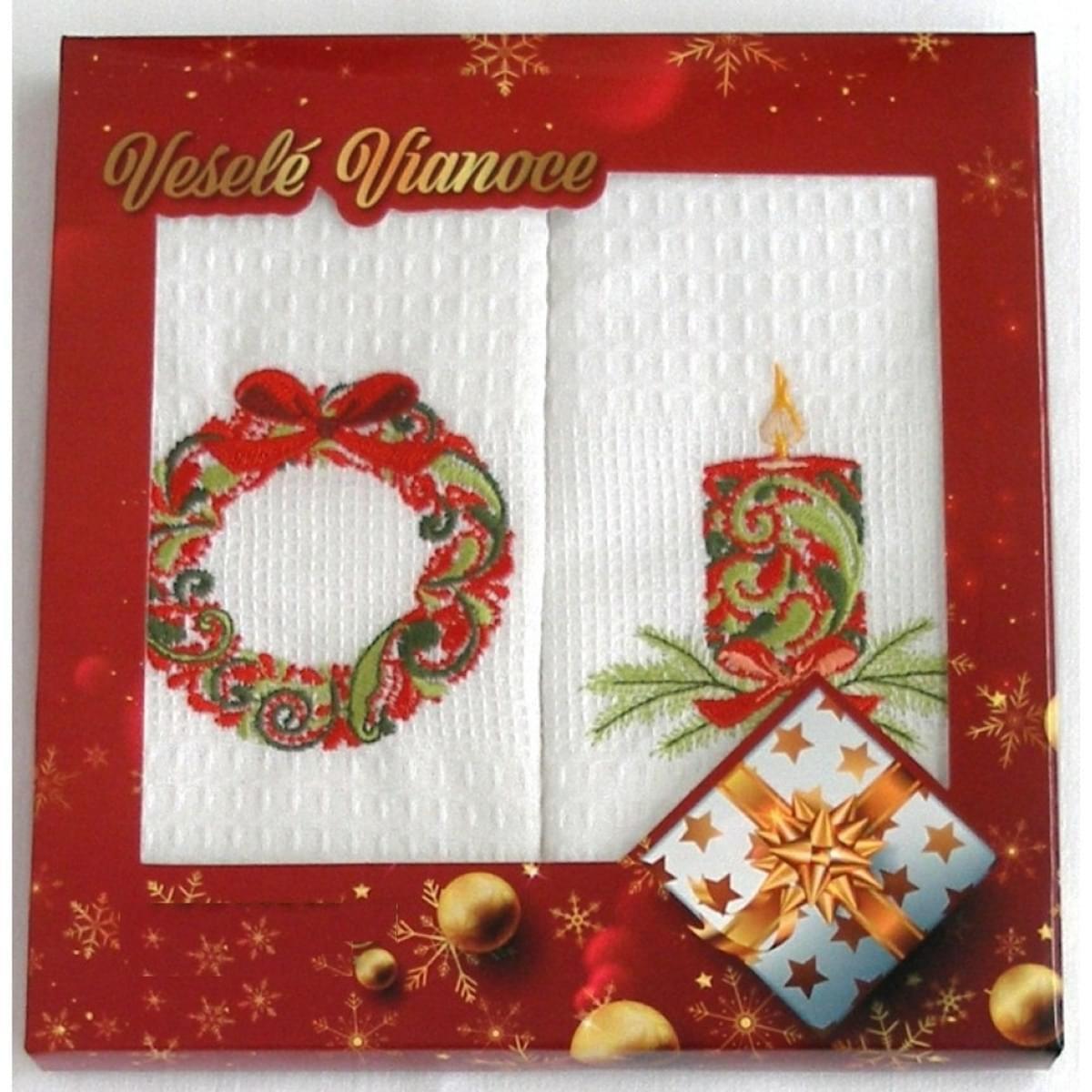 Bavlnené utierky Vianoční Darčekové balenie, Vianoce Advent sa sviec, sada 2 ks, 50 x 70 cm
